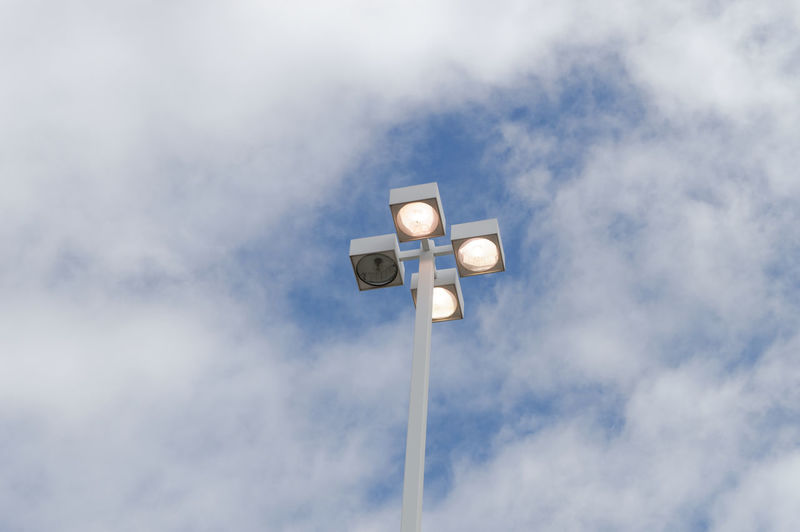 Low Angle View Of Street Lights Against Sky