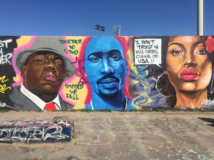 Portrait of graffiti on wall