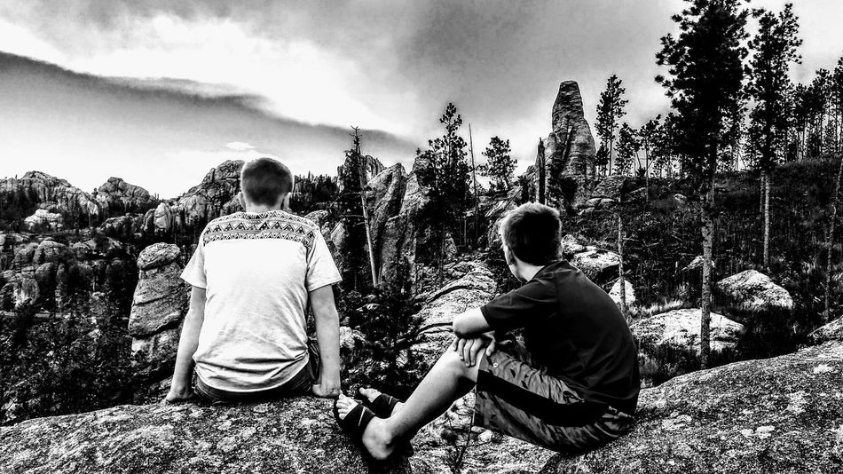 Togetherness Child People Day Sky Outdoors Sitting Growth Bonding Happiness Children Only Tree Friendship Brothers Littlebrother LittleBrothers Black & White B&w Tree Trees