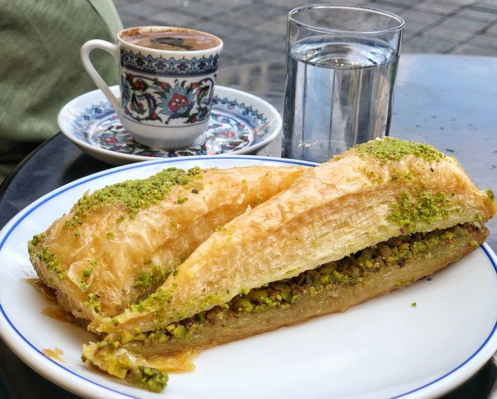 Dessert Turkish Dessert Baklava Coffee Turkish Coffee Istanbul Turkey Food And Drink Food Plate Freshness Ready-to-eat Still Life Drink Table Close-up Serving Size No People Coffee - Drink Indulgence