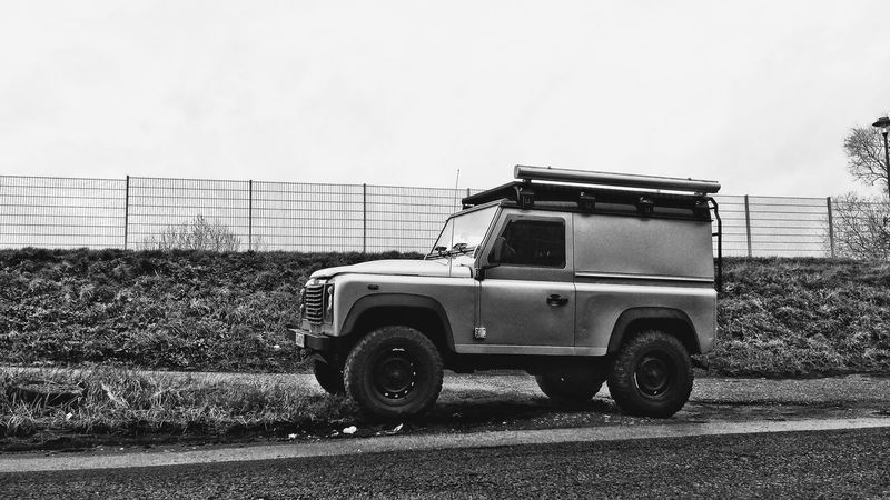 Blackandwhite Camping Car Contrast Defender Exploring Industrial Industry Land Rover Land Rover Defender Landrover  Landscape Metal Monochrome Nature No People Outdoors Parking Roadtrip Transportation Travel Wallpaper Wanderlust