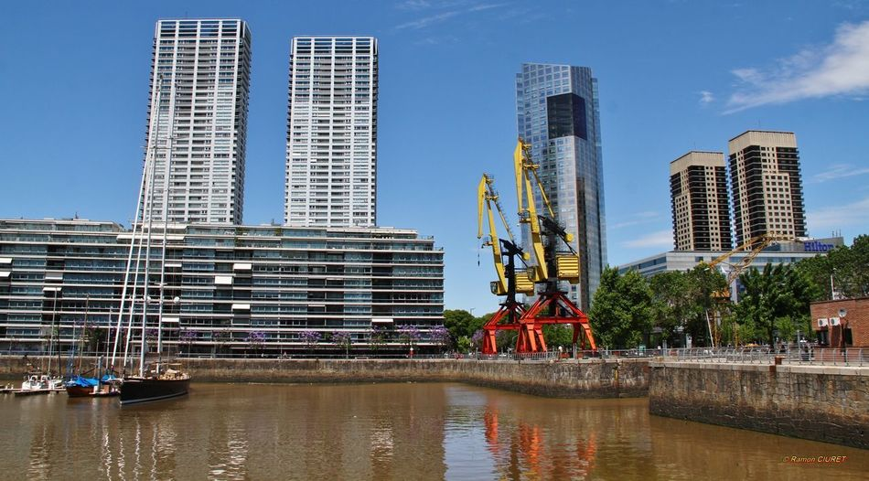 Buenos Aires Architecture Argentina Building Exterior City Cityscape Day Modern Outdoors Puerto Madero Reflection Shift Sky Skyscraper Urban Skyline Water Waterfront