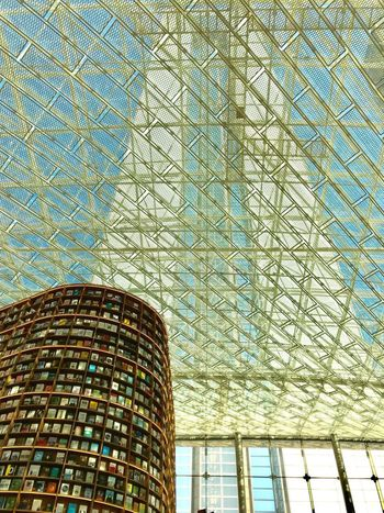 Modern Architecture Glass Roof Library Books Starfield Library ShotOnIphone Seoul Seoul, Korea Low Angle View Pattern Architecture Built Structure No People Day Building Exterior Lighting Equipment Building City Modern Sunlight Sky Tall - High Window Ceiling Outdoors Glass - Material Glass