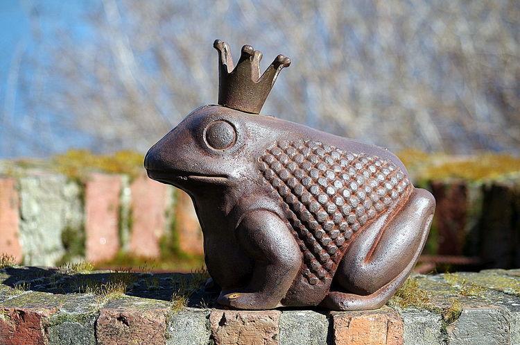 Froschkönig am Brunnen Brunnen Crown Decoration Dekoration Frog Frog King Frosch Froschkönig Krone Moos Moss Sculpture Skulptur Statue Well