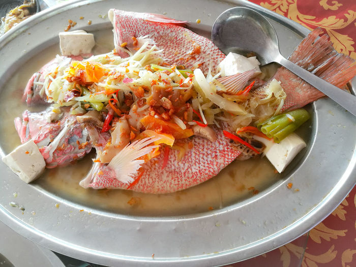Chinese Restaurant Clear Soup Cuisine Dinner Lunch Time! Delicious Fish Fresh Freshness Ginger & Tomato Gourmet Healthy Eating High Angle View Malaysia Ready-to-eat Seafood Serving Size Steamed Fish Tanjung Sepat Tofu