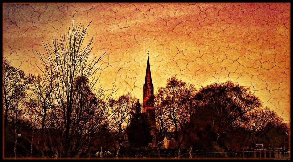 Painterly Churchspire Sunset