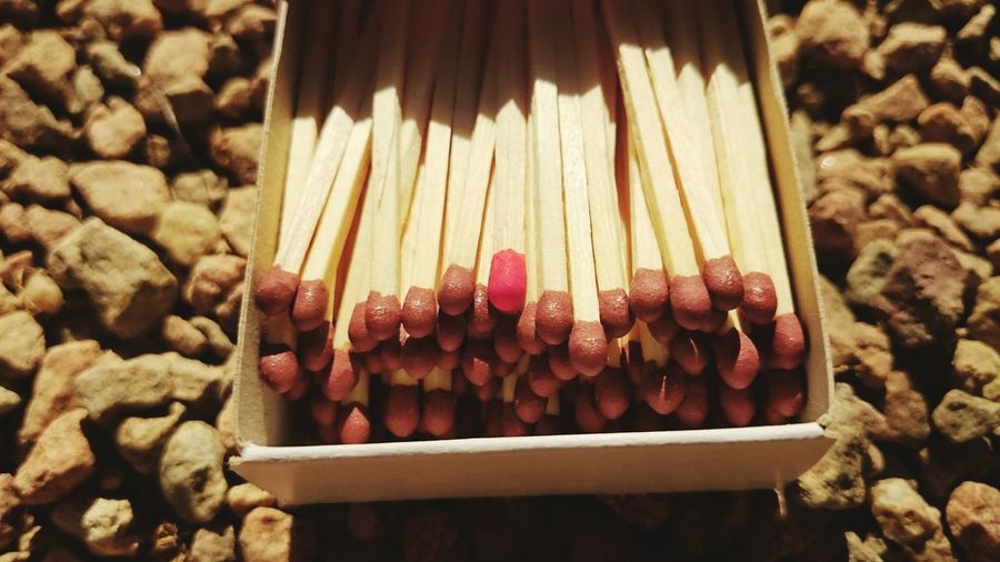 Close-Up Of Matches In Box