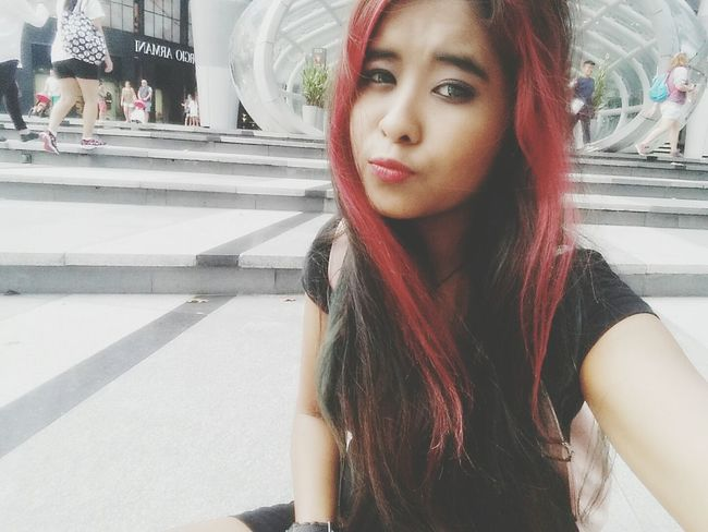 Singapore, Orchard Road . Self Portrait Asian Girl Hair Gopro Shots