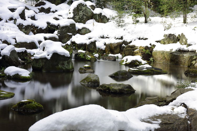 View of snow covered rocks with water