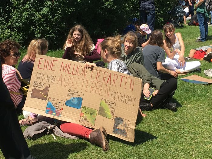 Group Of People Real People Crowd Leisure Activity Plant People Lifestyles Communication Women Park Men Nature Park - Man Made Space Text Grass Young Adult Tree Land Greta Thunberg