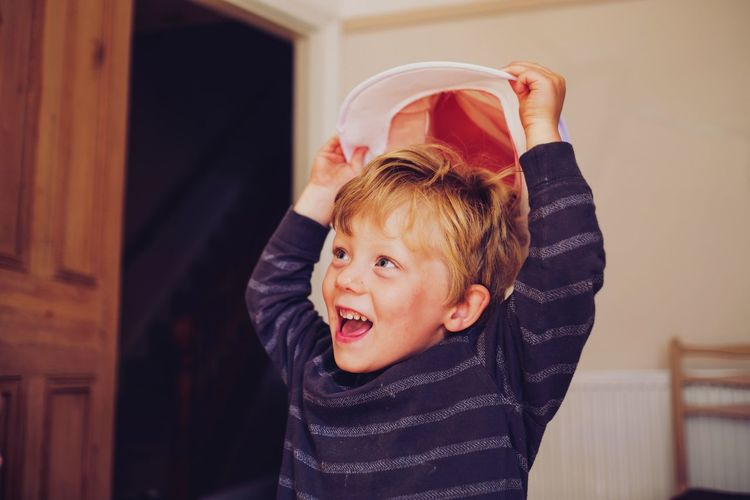 Hats off Little Boy Boy Fun Happy Interior Hat Hats Off Dressing Up Playing Playful Kids Child Childhood Blond Hair Portrait Domestic Life Cute Baby Cheerful Looking At Camera Close-up Wearing Costume