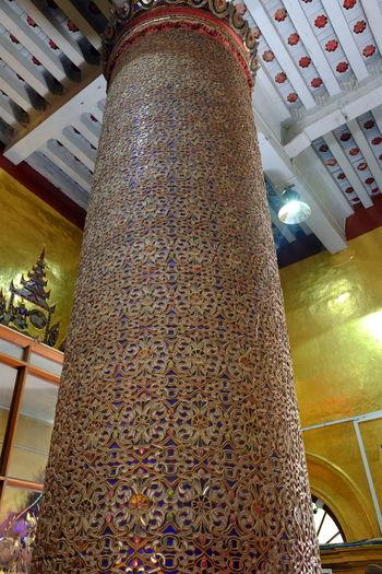 Ornate Glass Mosaic Pillar at Kuang Mu Daw Pagoda Buddhism Buddhist Architecture Buddhist Pagoda Buddhist Temple Composition Full Frame Glass Mosaic Indoor Photography Kuang Mu Daw Pagoda Low Angle View Man Mosaic Art Myanmar Ornate Ornate Design Ornate Pillar Unusual