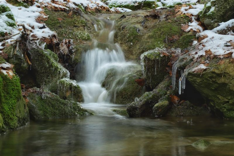 """Waterfall"" Outdoors No People Beauty In Nature Scenics Motion Water Waterfall Https://www.facebook.com/mh.photography.de/ Michael Hruschka Long Exposure Langzeitbelichtung Wasserfall Nature Landscape Snow Ice Creek BACH Bachlauf"