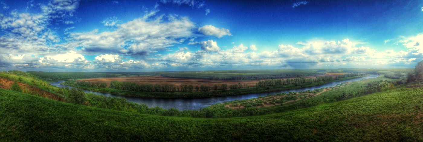 Perfect pano of Don-river River River View Don Zadonsk Homeland View Panorama