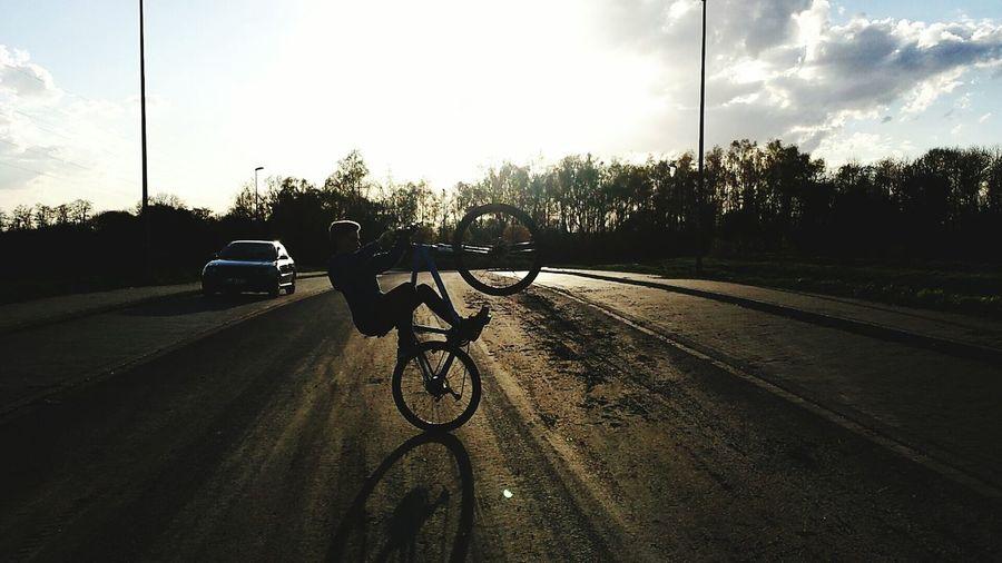 Lets do a Wheelie! First Eyeem Photo Bike Biking Wheelie MTB Sun Sunset Summer Summertime