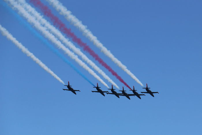 Airshow Blue Cloud - Sky Day Development Fighter Plane Flying Journey Low Angle View Military Airplane Mode Of Transport Nature No People Outdoors Sky Smoke - Physical Structure Teamwork Need For Speed