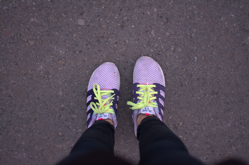 Adidas Adidas Originals Adidas Scolorful Canvas Shoe Colorfool Sport S Day From Where I Stand Human Foot Human Leg Laces Low Section One Person Outdoors Park - Man Made Space Personal Perspective Purple Yellow Shoes Running Adidas Shoe Shoes On Grey Back Sport Sports Photography Yellow Lac