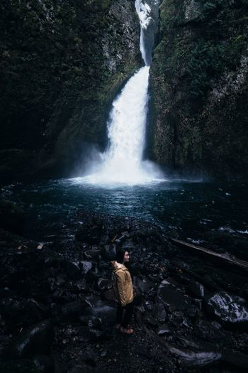 Rains Journal Water Beauty In Nature Outdoors Nature Motion Waterfall Splashing Scenics Tranquil Scene Adventure Winter Cold Temperature Tourism PNW Travel Destinations EyeEm Best Shots One Person Landscape Oregon Wild Vista Solitude Finding New Frontiers Miles Away Perspectives On Nature