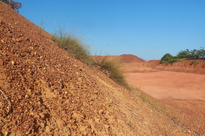 like a desert Authentic Moments Bauxite Beauty In Nature Bintan Island Blue Sky Clear Sky Daillyfe Desert Dirt Road Eks Mine Field Grass INDONESIA Kepulauan Riau Kijang Landscape Like Mountain Non Urban Scene Plant Scenics Seienam The Way Forward Tranquil Scene Travel Destinations Wonderful Indonesia
