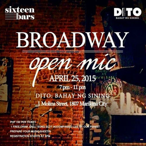 Got nothing to do on a Saturday night? Head over to Sixteen Bars: Broadway Open Mic at DITO: Bahay ng Sining tonight, 7pm! Broadway Openmic Cabaret Theatre manila local livemanila sixteenbars musicals