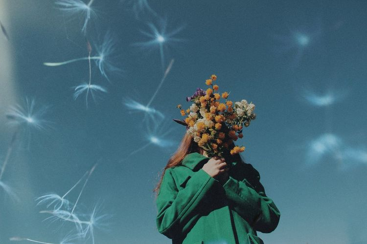 Low angle view of person holding flowering plant against sky