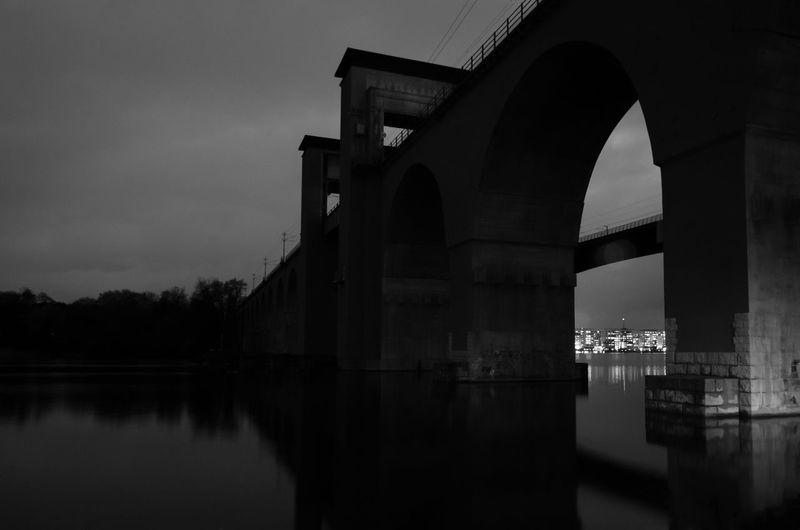 Arch Architecture Black And White Bridge Engineering Low Key Night Lights River Water Årstabron Årstaviken Black And White Friday