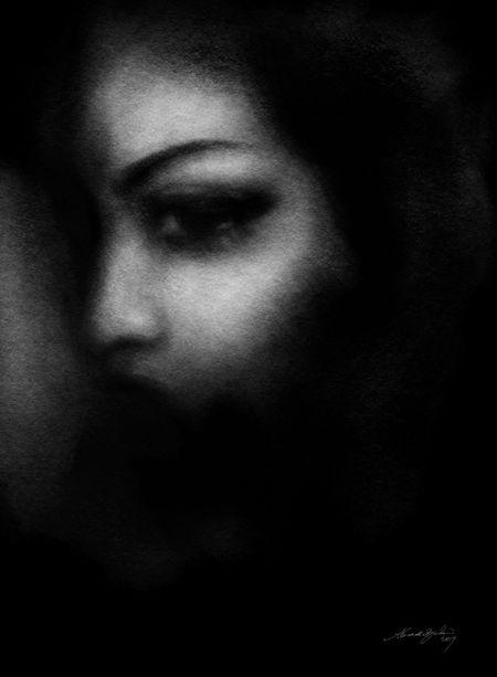 Dark Silence. charcoal drawing and black paint Drawing Art Blackandwhite Bw Blackdrawing