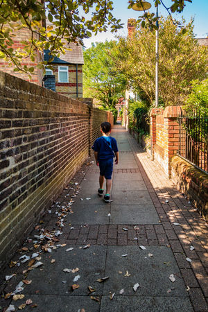 A boy walks downa wall lines pathway in late summer. Autumn Brick Wall Leaf Litter Narrow Path Trees Walk Alley Alleyway Blue Sky Boys Child Childhood Day Full Length Leaves Leisure Activity One Person Outdoors Rear View