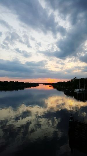 Sunset at Alva Bridge Sunset Florida View Jump! Clouds And Sky Reflections In The Water Enjoying Life Reflection