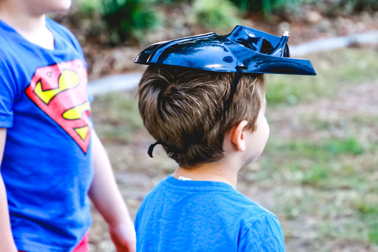 Fun Superhero Blue Boys Brother Child Childhood Costume Day Family Focus On Foreground Males  Offspring Outdoors People Real People Rear View Superman Togetherness Two People