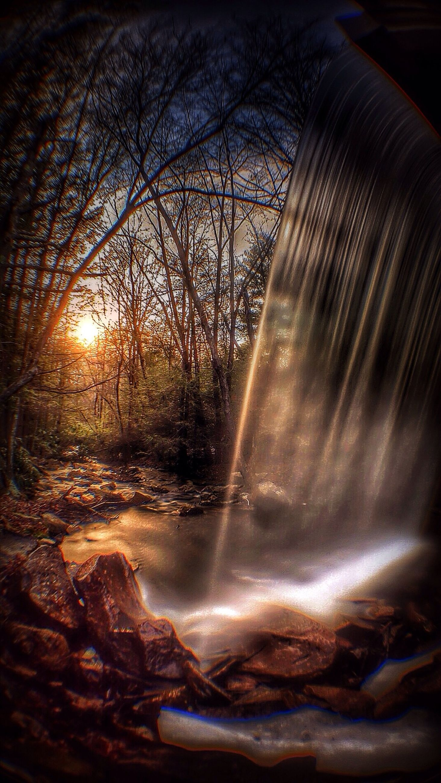 water, long exposure, motion, flowing water, tree, nature, blurred motion, waterfall, flowing, beauty in nature, scenics, forest, splashing, glowing, tranquility, reflection, stream, tranquil scene, sunbeam, sunlight