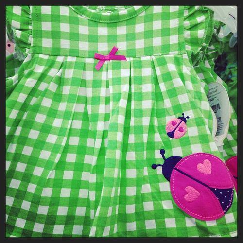 Babydress Baby Babygirl Babygirlclothes babyclothes girlclothes girl limegreenplaid greenplaid ladybug