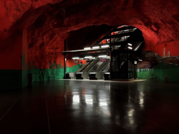 Stockholm T-Bana Series Reflection Red Illuminated Indoors  No People Day Escalators And Staircases Staircase The Way Forward Architecture Moving Walkway  Metro Metro Station Stockholm Tbana T Bana Stockholm, Sweden Solna Escalator Escalatorporn Escalators People Indoors  Underground Metrostation