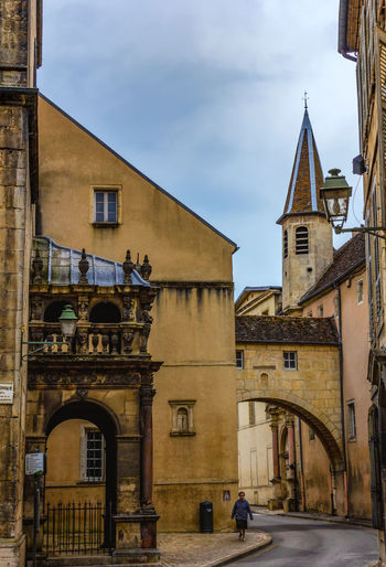 Quiet streets Alone France French Village Street Lonely Arch Architecture Building Exterior Built Structure City Cloud - Sky Day Low Angle View One Person Walking Outdoors Sky Village