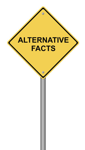 Yellow warning sign with the text Alternative Facts. Alternative Alternative Facts Caution Concept Danger Disinformation Facts Fake False Government Hoax Illustration Lie Message News No People Politics Propaganda Road Sign Sign Text USA Warning Words Yellow
