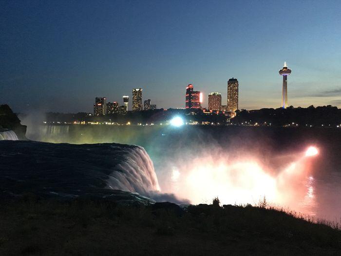 Niagara Falls Against Clear Sky At Night