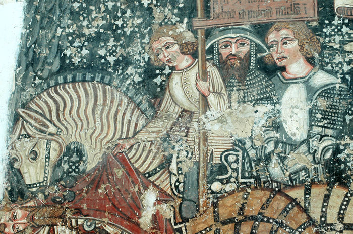 The 13th century murals of the church of Szekelyderzs, discovered during a restoration, present the legend of the Hungarian King Saint Ladislaus Biblical Scene Catholic Church Murals Ornamental Paintings Romania Szeklerland Transylvania UNESCO World Heritage Site Artistic Representation Catholic Church Church Interior Fresco Fresco Decorations Fresco N Mural Fresco Paintings Fresco Wall Frescoes Heritage Medieval Mural Mural Art Painting Religious Place