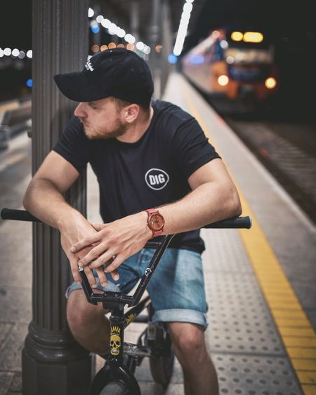 Bmx  Bicycle Transportation Casual Clothing Mode Of Transport One Person Real People Outdoors Night Lifestyles Men City Young Adult Adult People EyeEmBestPics The Week On Eyem EyeEm Best Shots EyeEm Gallery EyeEm Best Edits Train Train Station Train - Vehicle Trainphotography Your Ticket To Europe