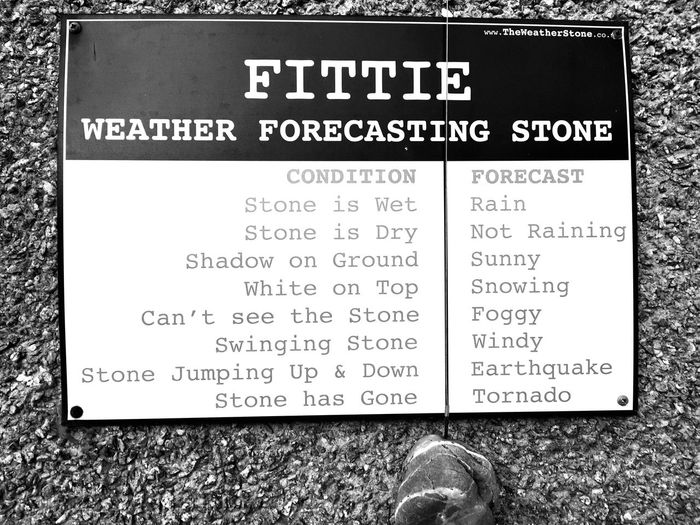 Weather forecast Sign Footdee Aberdeen Weather Forecast Weather Text Communication Western Script Paper No People Directly Above Non-western Script