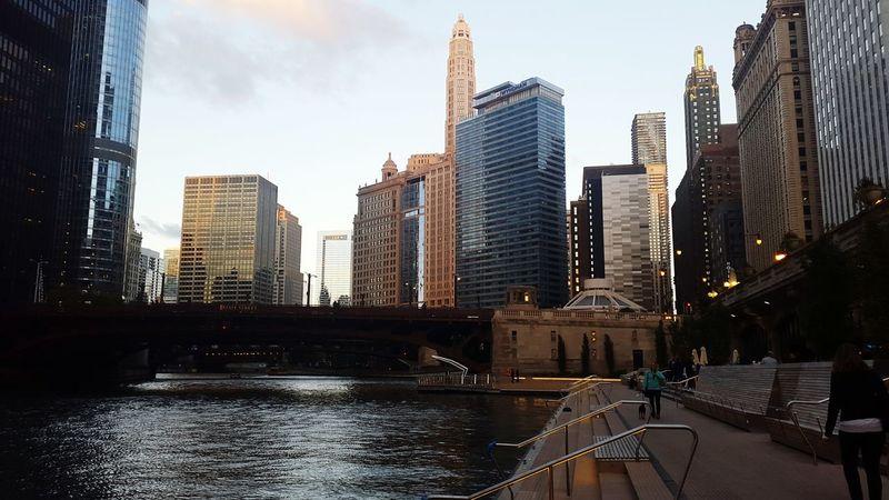 Chicago Riverwalk Sunset Downtown Chicago City Skyline