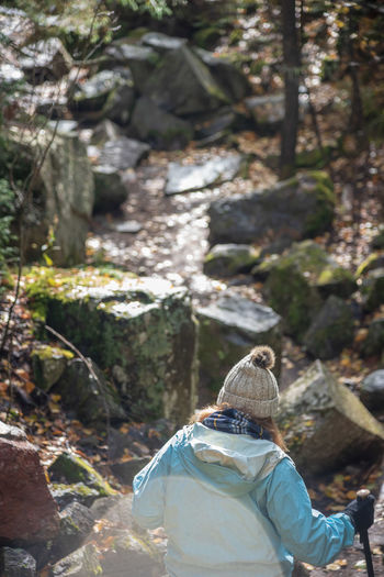 Rear view of woman on rock in forest