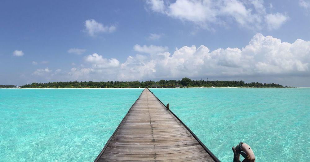 Beach Blue Dhiffushi Holiday Horizon Over Water Maldives No People Pier Sea Travel Destinations Vacations Water