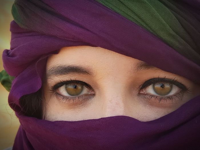 Sahara eyes Eyelash Portrait Human Eye Beautiful Woman Human Face Looking At Camera Young Women Eyebrow Purple Veil