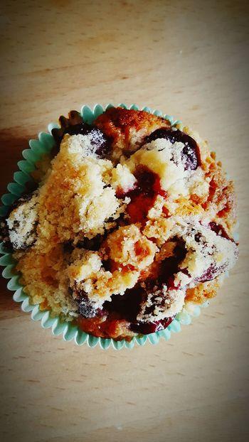Kirschen  Kirschstreusel Muffin Muffins Selfmade Yummy Tuquoise Türkis Crumble Streusel Streuselkuchen Streuselcake Förmchen