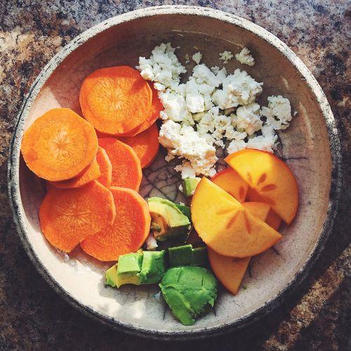 Vegetables for breakfast Avocado Breakfast Carrot Cottage Cheese Diet Food Plate Raw Sharon Vegan Vegetables Vegetarian