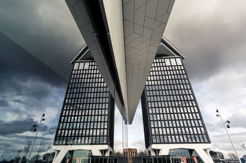 Eye Film Museum The Architect - 2018 EyeEm Awards Architecture Bridge Bridge - Man Made Structure Building Building Exterior Built Structure City Cloud - Sky Connection Day Low Angle View Mode Of Transportation Modern Nature No People Office Building Exterior Outdoors Sky Skyscraper Transportation Travel Destinations