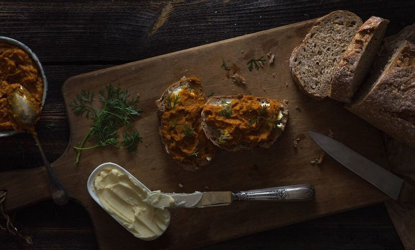 Moody Dark Rustic Bread Pumpkin Butter Food Meal Healthy Table High Angle View