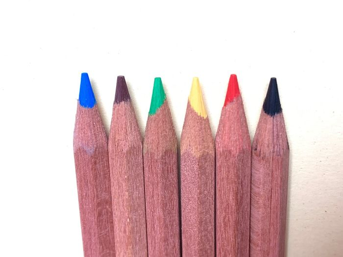 Art And Craft Pencil Multi Colored Choice Variation Writing Instrument Colored Pencil White Background Close-up Craft Creativity Indoors  No People Studio Shot Cut Out Wood - Material Sharp Red Still Life In A Row