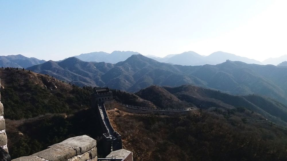 The Great Wall Old Structure Still In Use Today The Great Wall Of China The Wall!!! Mountain Mountain Range Landscape Nature Outdoors Pinaceae No People Scenics Beauty In Nature Tree Sky