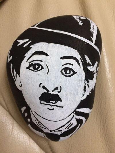Painted Rock Portrait Headshot Close-up Indoors  Looking At Camera Art And Craft Representation